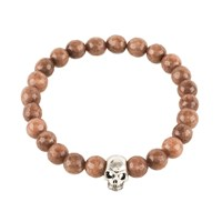 Latelita London Skull Bracelet Sterling Silver Brown Agate Silver Brown
