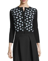 Carolina Herrera 3 4 Sleeve Floral Embellished Cardigan Black Green White