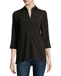 Paperwhite 3 4 Sleeve A Line Blouse Black