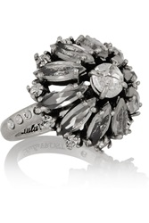 Lulu Frost Brilliant Silver Tone Crystal Ring Nude