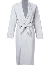 H Beauty And Youth. High Neck Belted Coat Grey