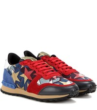 Valentino Starstudded Rockrunner Denim And Suede Sneakers Red