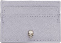 Alexander Mcqueen Purple Leather Skull Card Holder