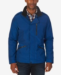 Nautica Men's Concealed Placket Field Jacket Estate Blue