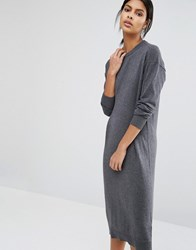 Warehouse Crew Neck Midi Dress Charcoal Marl Grey