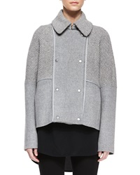 Vince Sherpa Double Breasted Boucle Wool Peacoat