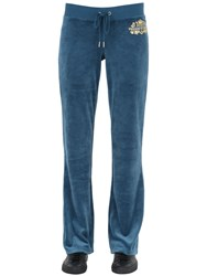 Juicy Couture Crystal Logo Velour Jersey Jogging Pants