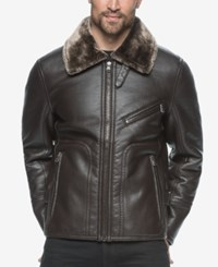 Marc New York Men's Kane Faux Leather Bomber With Faux Fur Collar Brown