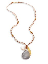 Chan Luu Mother Of Pearl Agate And Sodalite Long Necklace Turquoise Mix White