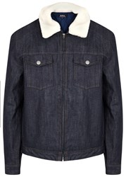 A.P.C. Bass Faux Shearling Trimmed Denim Jacket
