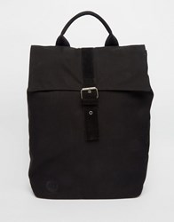 Mi Pac Canvas Roll Top Backpack In Black Black
