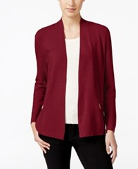 Charter Club Petite Open Front Zip Pocket Cardigan Only At Macy's Cardinal Red