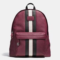Coach Modern Varsity Stripe Campus Backpack In Pebble Leather Black Antique Nickel Burgundy C