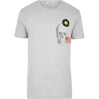 Only And Sons River Island Mens Grey Skull Badge T Shirt