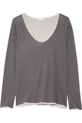 Skin Layered Pima Cotton Pajama Top Dark Gray