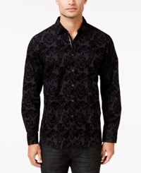 Inc International Concepts Men's Festive Flocked Paisley Long Sleeve Shirt Only At Macy's Black