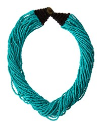Kenneth Jay Lane Multi Strand Seed Bead Necklace Turquoise