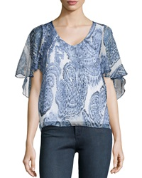 Milly Butterfly Sleeve Silk Blouse Denim Blue