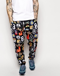 Jaded London Sweatpants In Badge Print Black
