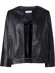 Golden Goose Deluxe Brand Zipped Leather Jacket Black