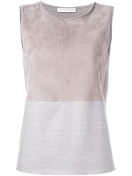 Fabiana Filippi Colour Block Sleeveless Blouse Nude And Neutrals