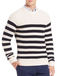 Lacoste Fancy Rib Striped Sweater White Navy