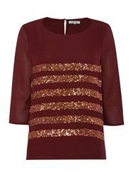 Dickins And Jones Sequin Stripe Boxy Top Wine