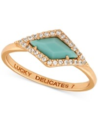 Lucky Brand Rose Gold Tone Plated Blue Stone And Pave Ring