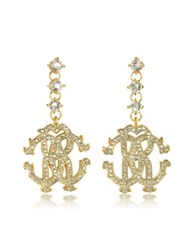 Roberto Cavalli Rc Icon Golden Metal Earrings W Crystals