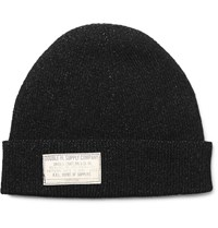 Rrl Knitted Cotton Beanie Black