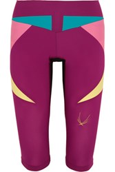 Lucas Hugh Paragon Color Block Stretch Capri Leggings Fuchsia