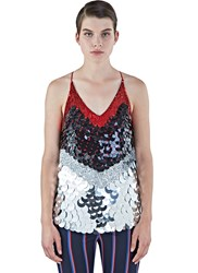 Altuzarra Greer Sequinned Metallic Paillette Top Red
