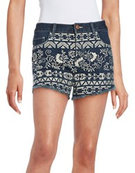 Design Lab Lord And Taylor Embroidered Denim Shorts Indigo