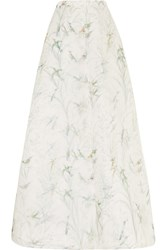 Rochas Printed Silk Georgette Maxi Skirt White
