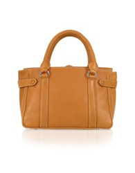Buti Side Snaps Calf Leather Satchel Bag Tan