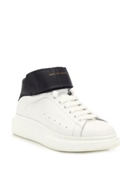 Alexander Mcqueen Lift Ankle Strap Leather Sneakers White Black