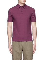 Incotex Ice Cotton Fine Knit Polo Shirt Red