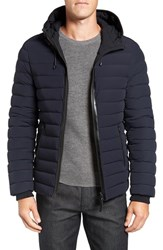 Mackage Men's Lux Water Repellent Hooded Down Jacket With Leather Trim Navy