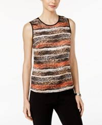 Kasper Sleeveless Graphic Print Shell Apricot Multi