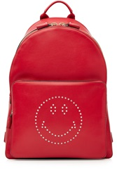 Anya Hindmarch Smiley Leather Backpack Red