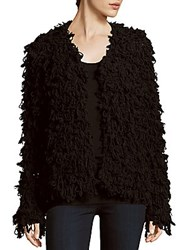 Clich Chubby Knit Open Front Cardigan Black