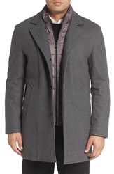 Cole Haan Men's Faux Shearling Lined Waterproof Car Coat With Detachable Bib