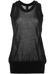 Vera Wang Tulle Panel Tank Black