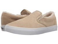 Vans Classic Slip On Suede Fleece Pale Khaki True White Skate Shoes Beige
