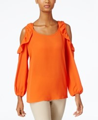 Ny Collection Ruffled Cold Shoulder Top Orange