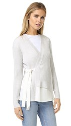 3.1 Phillip Lim Long Sleeve Silk Combo Cardigan Antique White