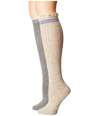 Steve Madden 2 Pack Varsity Lace Knee High Off White Heather Grey Women's Knee High Socks Shoes Gray
