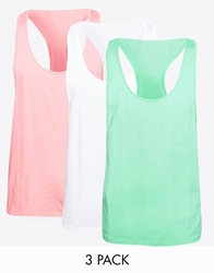 Asos Vest With Extreme Racer Back 3 Pack Save 22 Greenpinkwhite