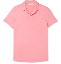 Orlebar Brown Massey Slim Fit Open Collar Washed Cotton Jersey Polo Shirt Pink