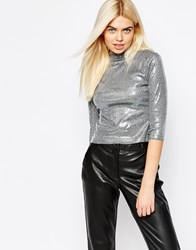 Monki Metallic High Neck Jersey Top Grey